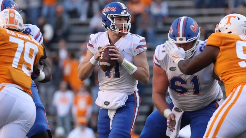 Florida Gators quarterback Kyle Trask attempts a pass against the Tennessee Volunteers