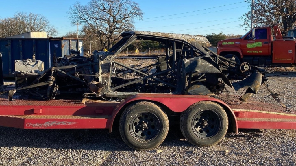 Street Outlaws star James Goad picks up one of his two cars that was involved in a stacker trailer fire following a No Prep event