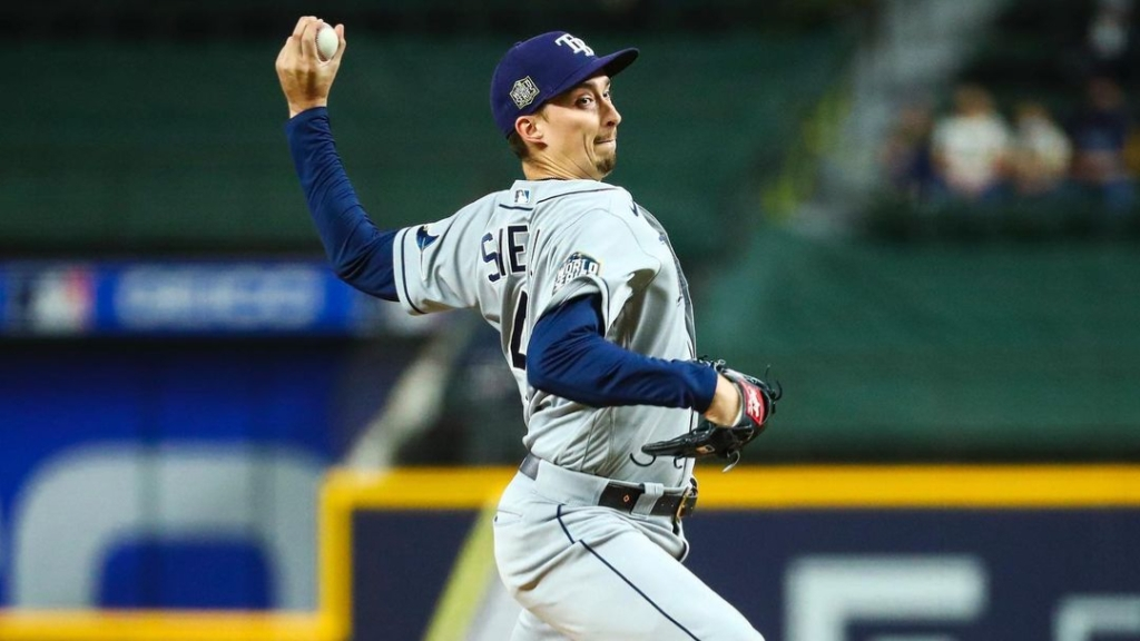 Tampa Bay Rays pitcher Blake Snell warms up to throw a pitch against the Los Angeles Dodgers in Game 6 of the 2020 World Series