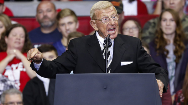 Former Notre Dame football coach Lou Holtz speaks during a campaign rally for Republican Senate candidate Mike Braun and attended by President Donald Trump