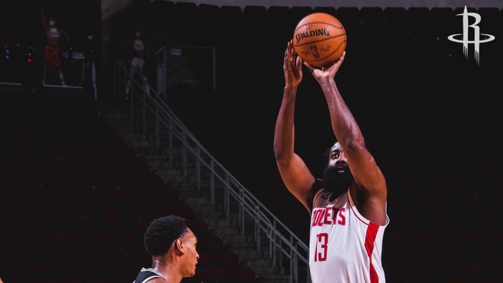 Houston Rockets superstar James Harden attempts a shot against the San Antonio Spurs