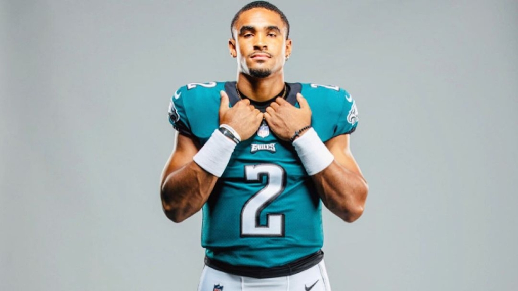 Philadelphia Eagles quarterback Jalen Hurts takes a portrait in his uniform during training camp