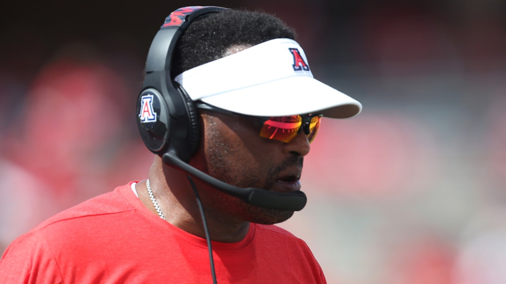 Former Arizona Wildcats head football coach Kevin Sumlin looks on from the sidelines against the Houston Cougars