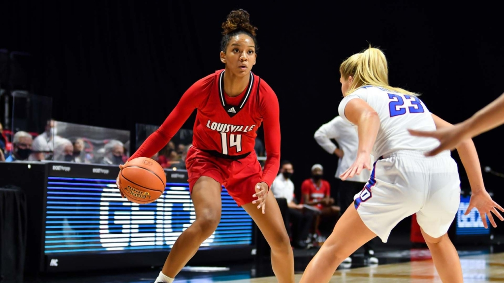 Louisville Cardinals guard Kianna Smith dribbles the basketball against the DePaul Blue Demons