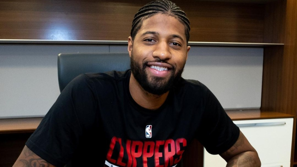Los Angeles Clippers forward Paul George signing his contract extension