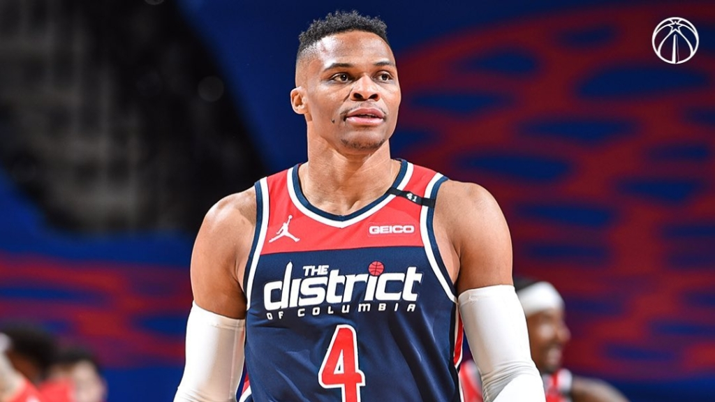 Washington Wizards star point guard Russell Westbrook looks on during a break in the action against the Philadelphia 76ers