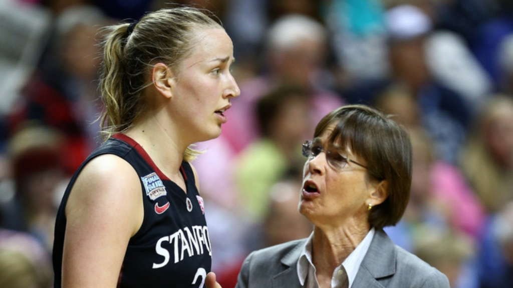 Stanford Cardinal women's basketball coach Tara VanDerveer speaks with Mikaela Ruef against the Connecticut Huskies during their 2014 NCAA Women's Final Four semifinal