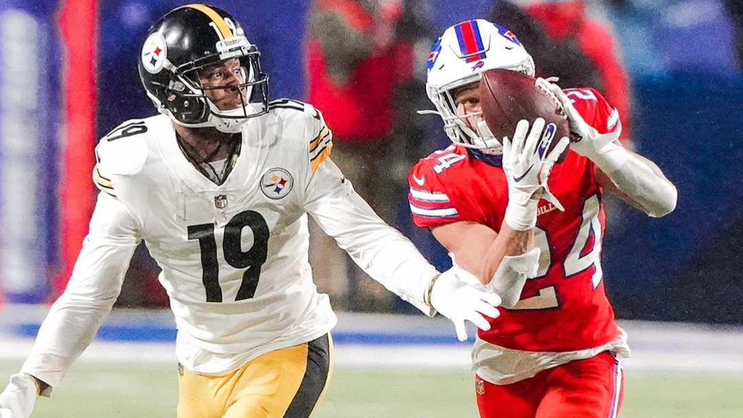 Buffalo Bills cornerback Taron Johnson with an interception returned for a touchdown against the Pittsburgh Steelers