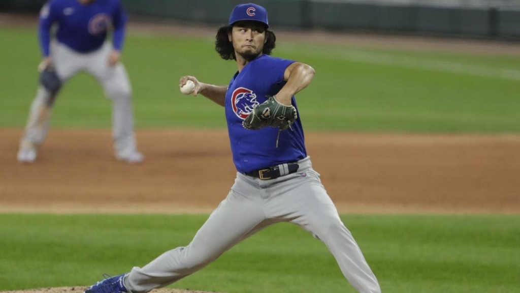 Former Chicago Cubs pitcher Yu Darvish throws a pitch against the Chicago White Sox