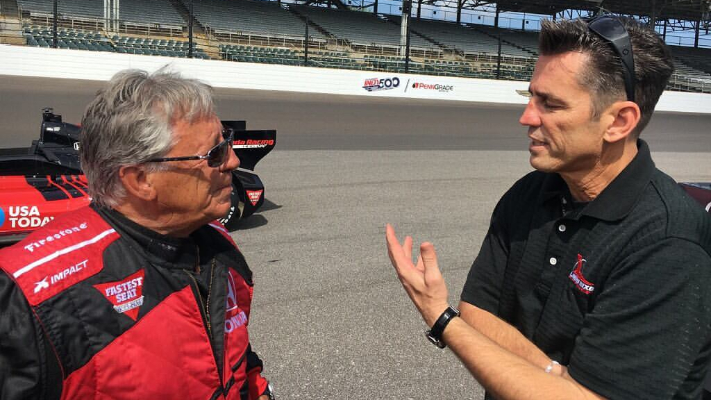 Former NHRA Top Fuel Dragster pilot Larry Dixon speaks with Motorsports legend Mario Andretti