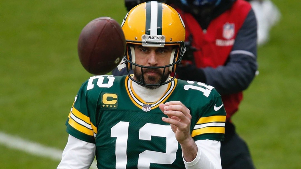 Green Bay Packers quarterback Aaron Rodgers warms up before the 2021 NFC Championship Game against the Tampa Bay Buccaneers