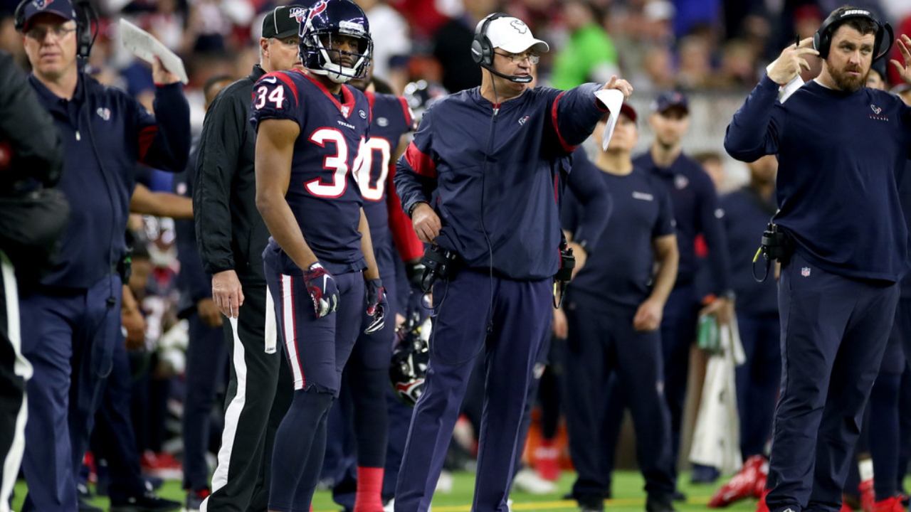 Former Houston Texans head coach Bill O'Brien reacts to a call against the Buffalo Bills during the 2020 AFC Wild Card Round playoff game