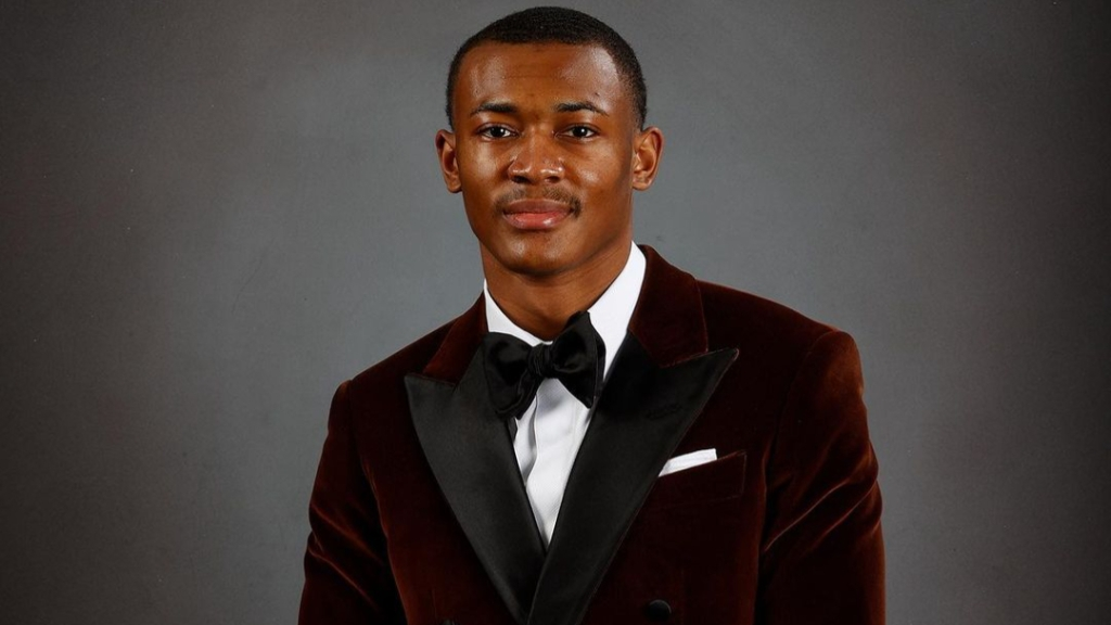 Alabama Crimson Tide wide receiver DeVonta Smith posing for a portrait before the 2020 Heisman Trophy ceremony
