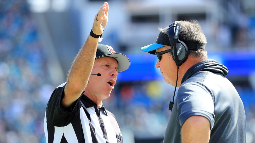 Former Jacksonville Jaguars head coach Doug Marrone speaks with a referee during their game against the Houston Texans
