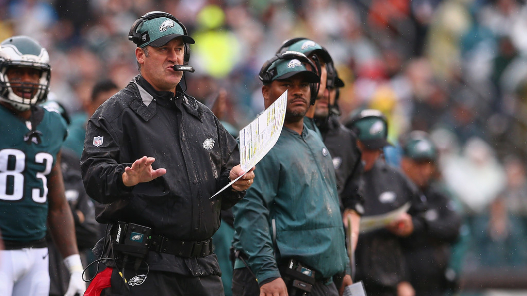 Former Philadelphia Eagles head coach Doug Pederson communicates with his team before a play against the Indianapolis Colts