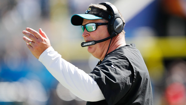 Former Jacksonville Jaguars head coach Doug Marrone stands near the sideline and questions a call against the Tennessee Titans