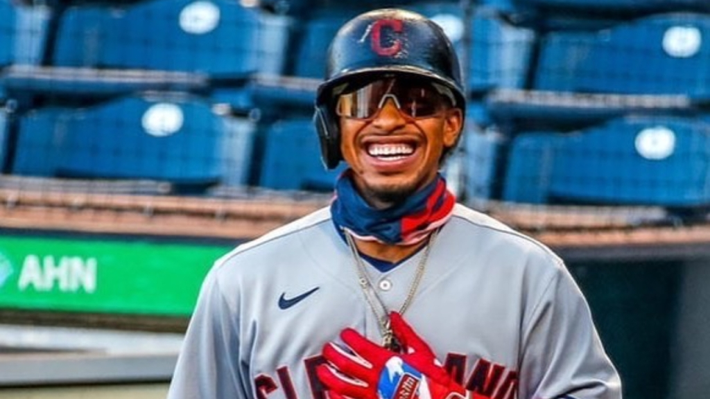 Former Cleveland Indians shortstop Francisco Lindor smiles during their game against the Detroit Tigers