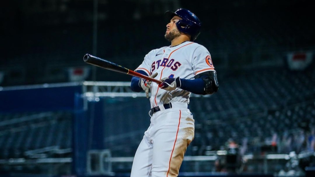 Former Houston Astros outfielder George Springer hits a home run against the Tampa Bay Rays