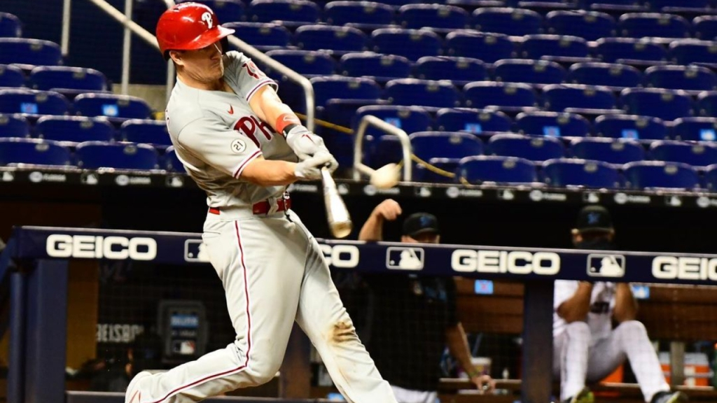 Philadelphia Phillies catcher J.T. Realmuto hits a home run against the Miami Marlins