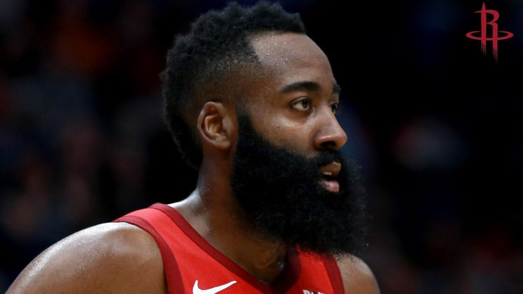 Former Houston Rockets guard James Harden looks in during a game