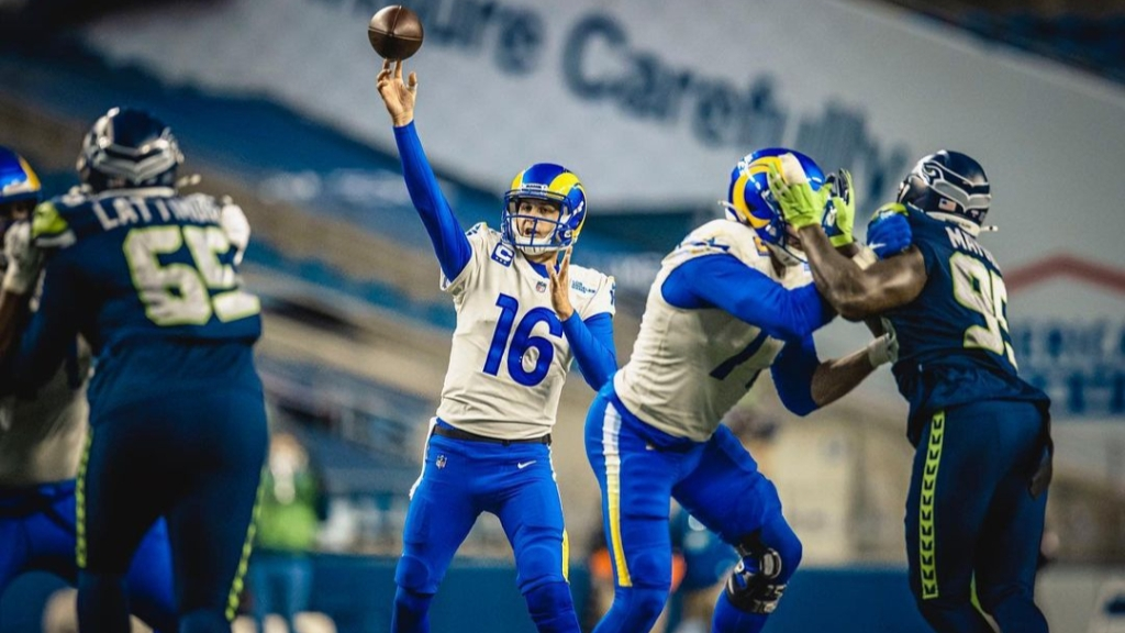 Former Los Angeles Rams quarterback Jared Goff attempts a pass against the Seattle Seahawks