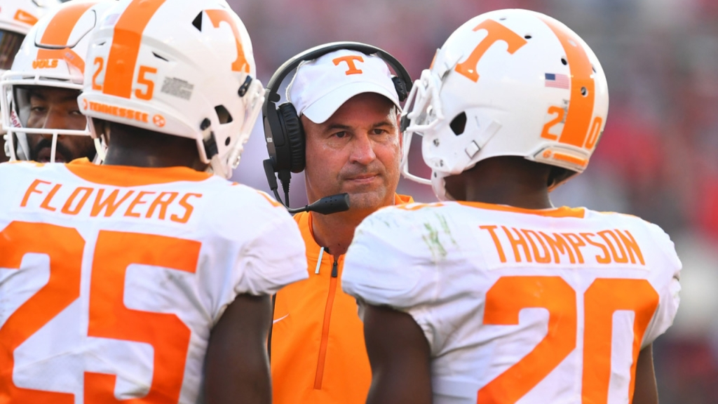 Former Tennessee Volunteers head coach Jeremy Pruitt speaks to his former players before a play against the Georgia Bulldogs