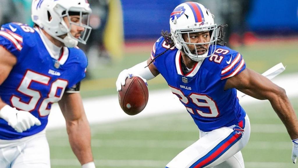 Buffalo Bills cornerback Josh Norman returns a Tua Tagovailoa interception for a touchdown against the Miami Dolphins