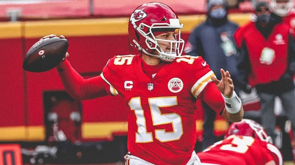 Kansas City Chiefs quarterback Patrick Mahomes II attempting a pass against the Cleveland Browns