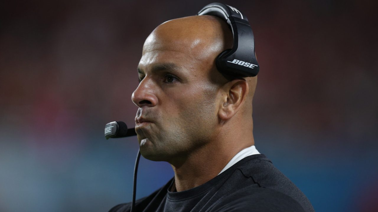 San Francisco 49ers defensive coordinator Robert Saleh looks on against the Kansas City Chiefs in Super Bowl LIV
