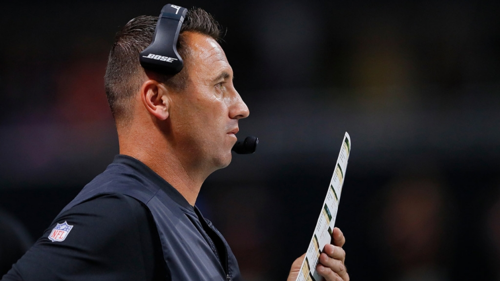 Former Atlanta Falcons offensive coordinator Steve Sarkisian calls plays from the sidelines against the Arizona Cardinals