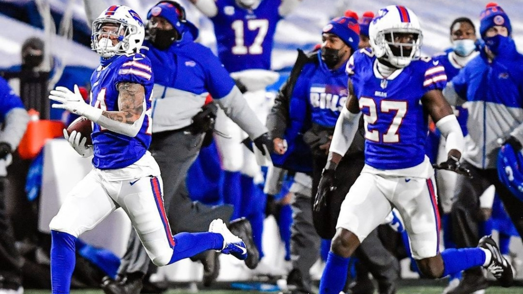 Buffalo Bills cornerback Taron Johnson returns an interception for a touchdown against the Baltimore Ravens