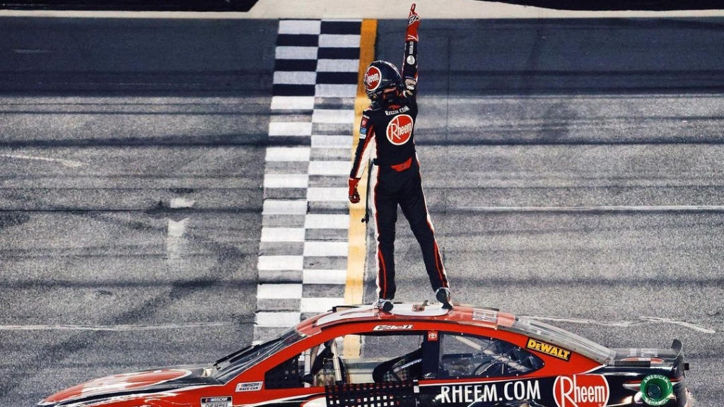 Rheem sponsored NASCAR Sprint Cup Series driver Christopher Bell celebrates his first Cup Series win