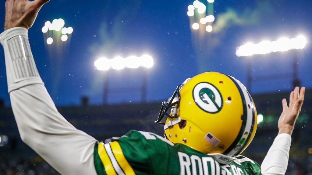 Green Bay Packers quarterback Aaron Rodgers is introduced during pre-game introductions against the Los Angeles Rams