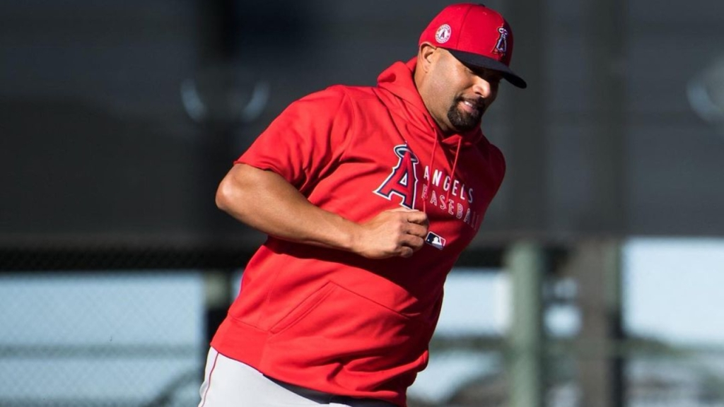 Los Angeles Angels slugger Albert Pujols running the bases during spring training