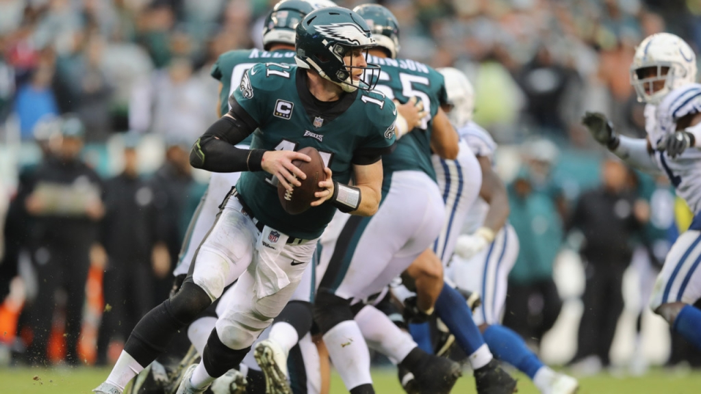 Former Philadelphia Eagles quarterback Carson Wentz looks to throw the football against the Indianapolis Colts