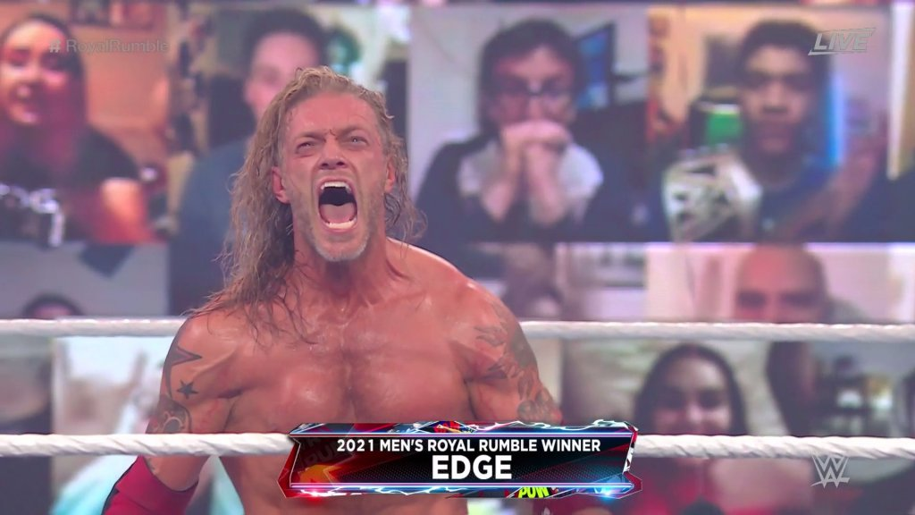 WWE wrestler Edge celebrates his win in the 2021 Royal Rumble
