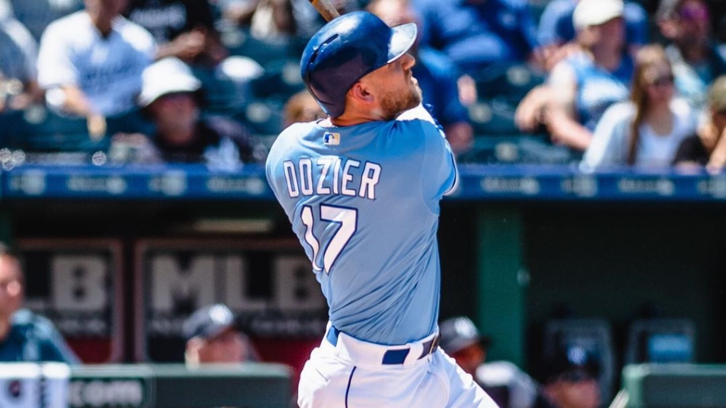 Kansas City Royals third baseman Hunter Dozier hits the baseball in an undated photo.