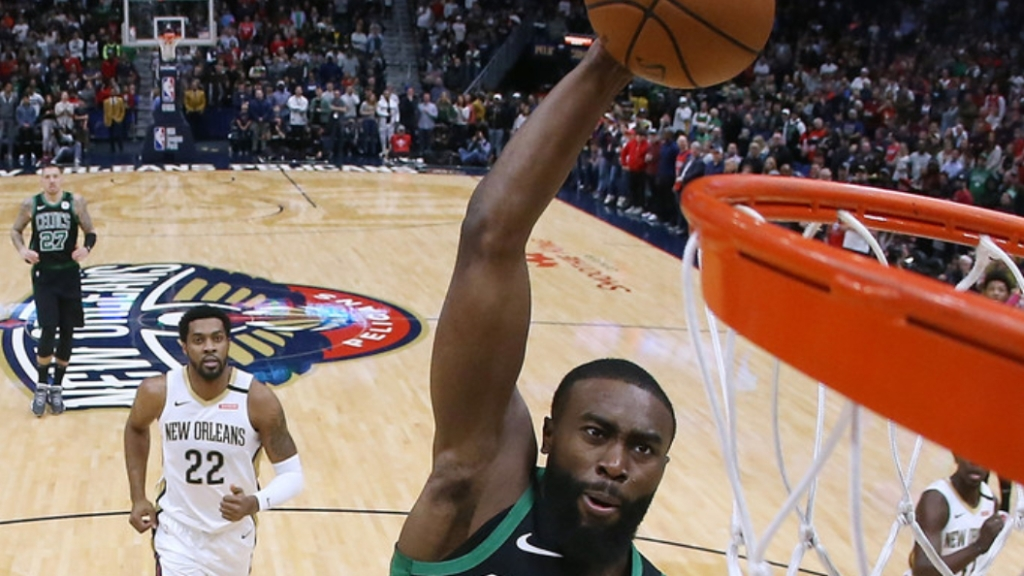 Boston Celtics swingman Jaylen Brown dunks against the New Orleans Pelicans