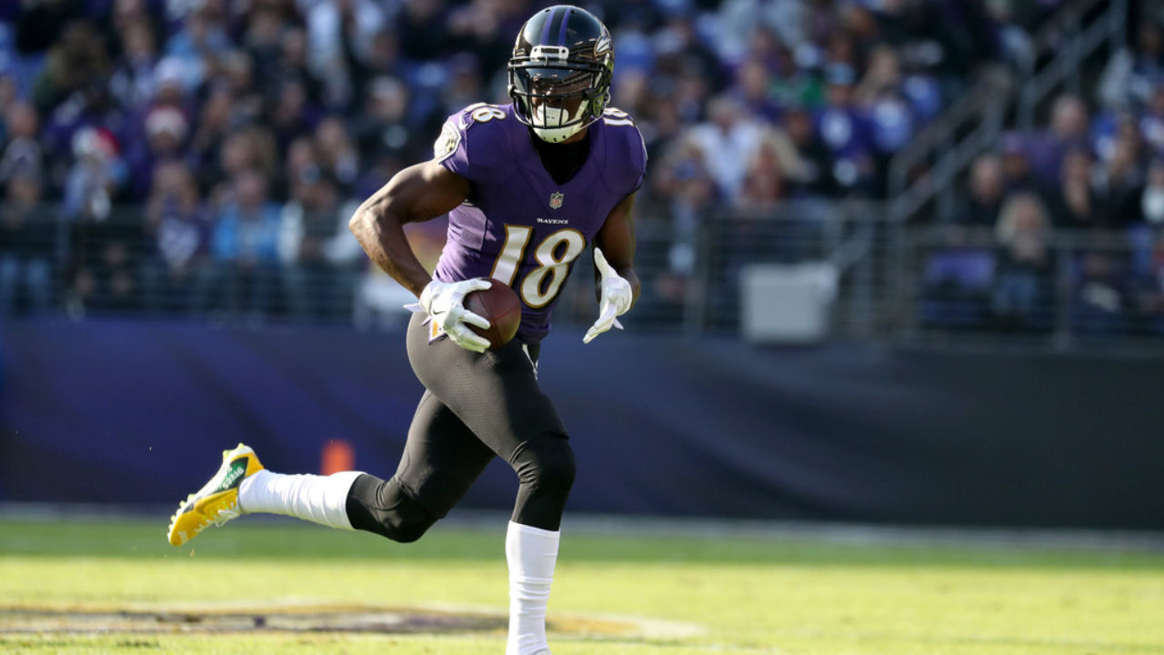Former Baltimore Ravens wide receiver Jeremy Maclin runs with the football after making a reception against the Detroit Lions