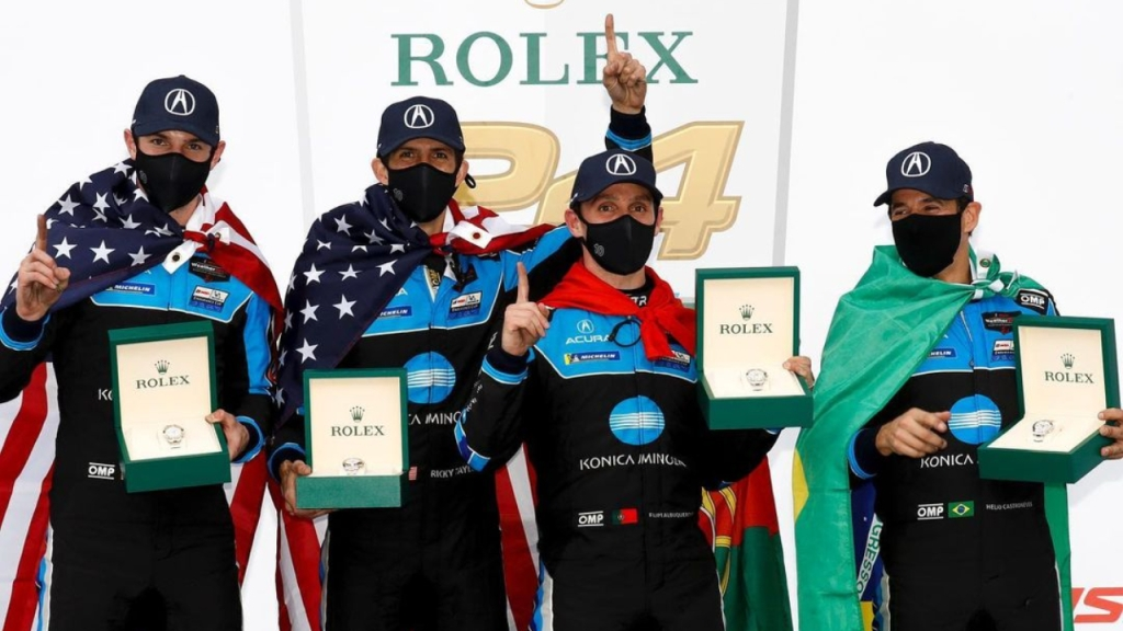 Wayne Taylor Racing celebrates their 2021 Rolex 24 win