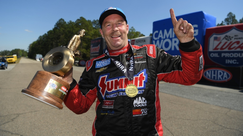 Summit Racing Equipment sponsored Greg Anderson won a Wally on his 60th birthday at the 52nd annual Amalie Motor Oil NHRA Gatornationals