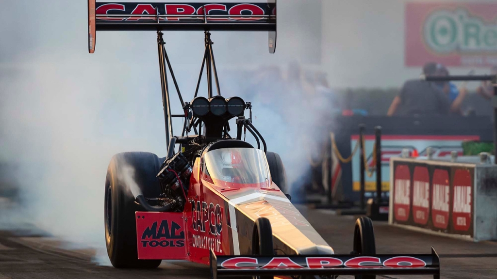 Capco Contractors Top Fuel Dragster pilot Steve Torrence making a pass on Friday at the 52nd annual Amalie Motor Oil NHRA Gatornationals