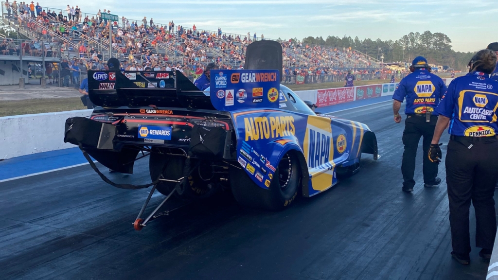 NAPA Auto Parts Funny Car pilot Ron Capps prepares to make a pass on Friday at the 52nd annual Amalie Motor Oil NHRA Gatornationals