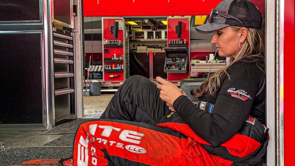 Elite Motorsports Pro Stock driver Erica Enders waits to make a pass at the CTech Manufacturing World Doorslammer Nationals presented by JEGS Performance