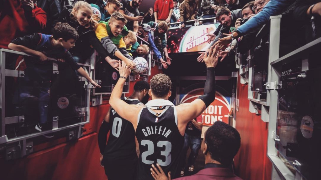 Former Detroit Pistons forward Blake Griffin walks off the court following a game