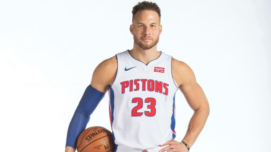 Former Detroit Pistons forward Blake Griffin takes a picture during the team's media day