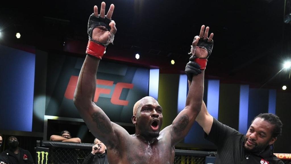 UFC fighter Derrick Brunson celebrates his win over Kevin Holland at UFC on ESPN 21