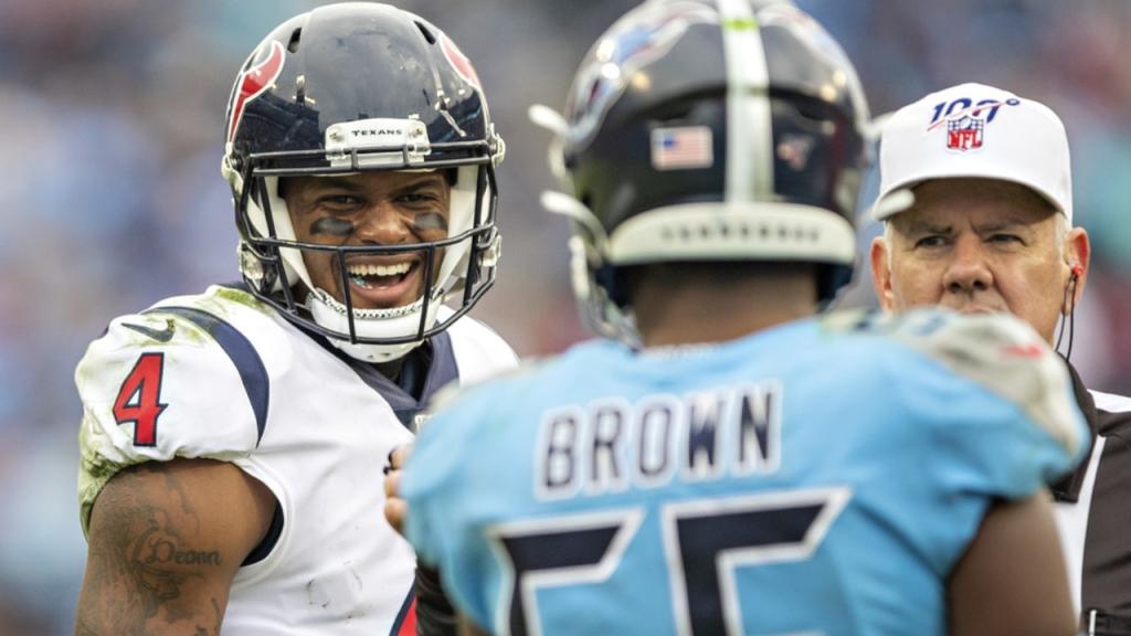 Houston Texans quarterback Deshaun Watson laughs at Jayon Brown against the Tennessee Titans