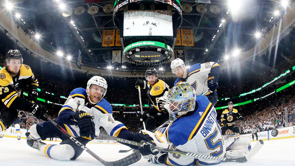 St. Louis Blues goaltender Jordan Binnington defends the goal against the Boston Bruins in Game Five of the 2019 NHL Stanley Cup Finals