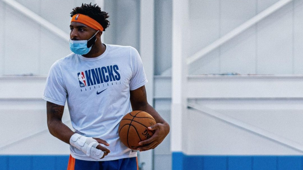 New York Knicks center Mitchell Robinson attends practice at the Knicks training facility